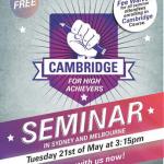 Cambridge Seminar on 21 May